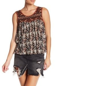 Free People XS Lucky Coin Tank Top Boho Floral NEW